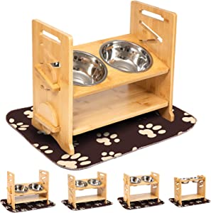 Q-Hillstar Adjustable Dog Raised Bowls, Elevated Tilted Dog Bowl Stand, Wooden Pet Feeder Stand with 2 Stainless Steel Bowls for Cats and Dog