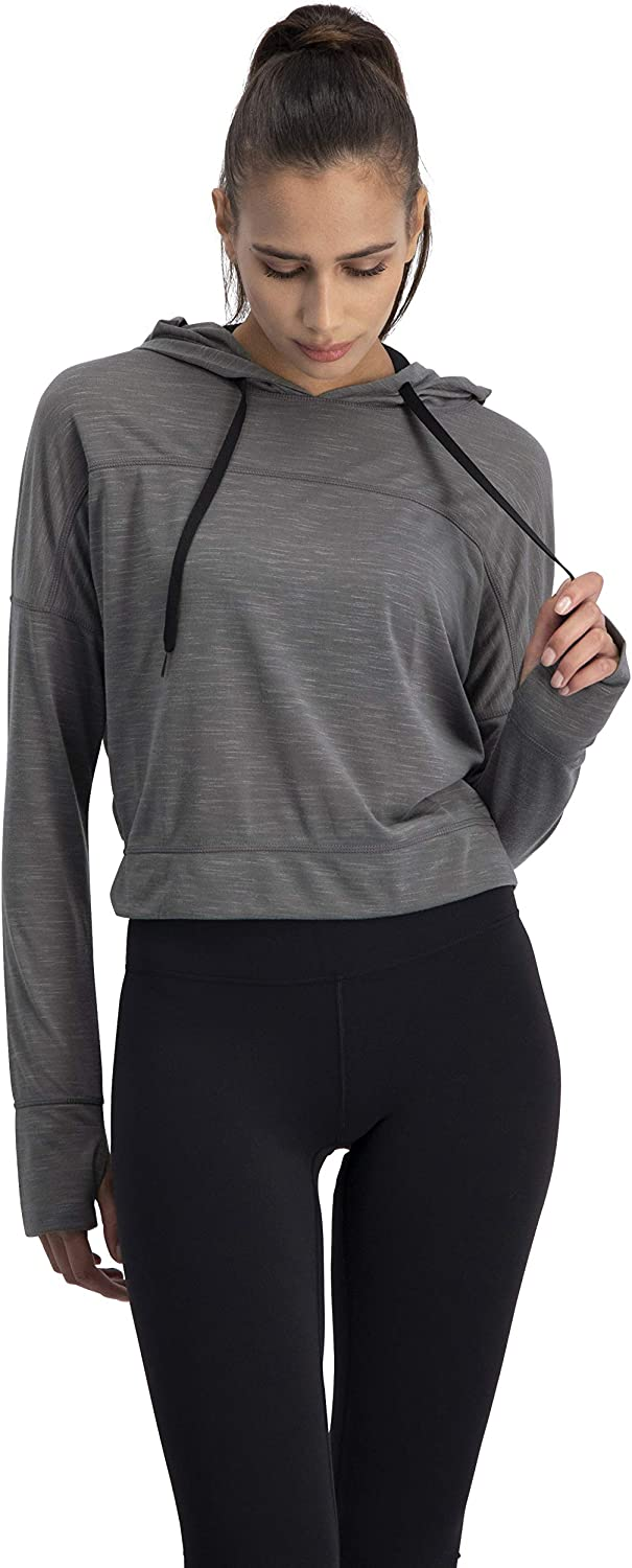 Long Sleeve Crop Top Hoodie Three Sixty Six Dry Fit Crop Tops for Women Womens Workout Pullover Top with Thumb Holes