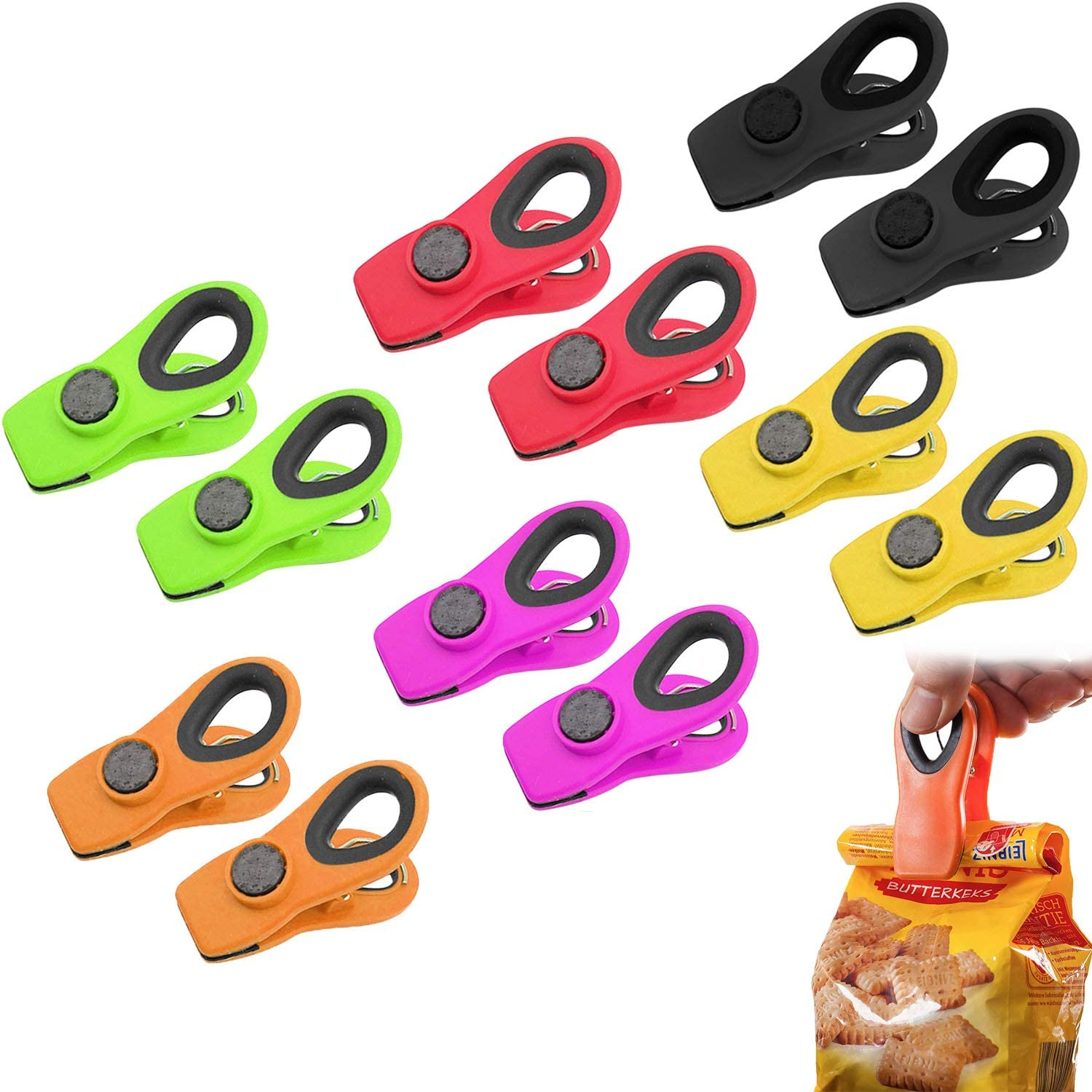 Clips for Food Packages, Bag Clips for Food Magnetic Clips for Refrigerator, Chip Clips Magnetic Multicolored Food Sealing Clips with Airtight Seal for Home Kitchen Office School Supplies(12 PCS)