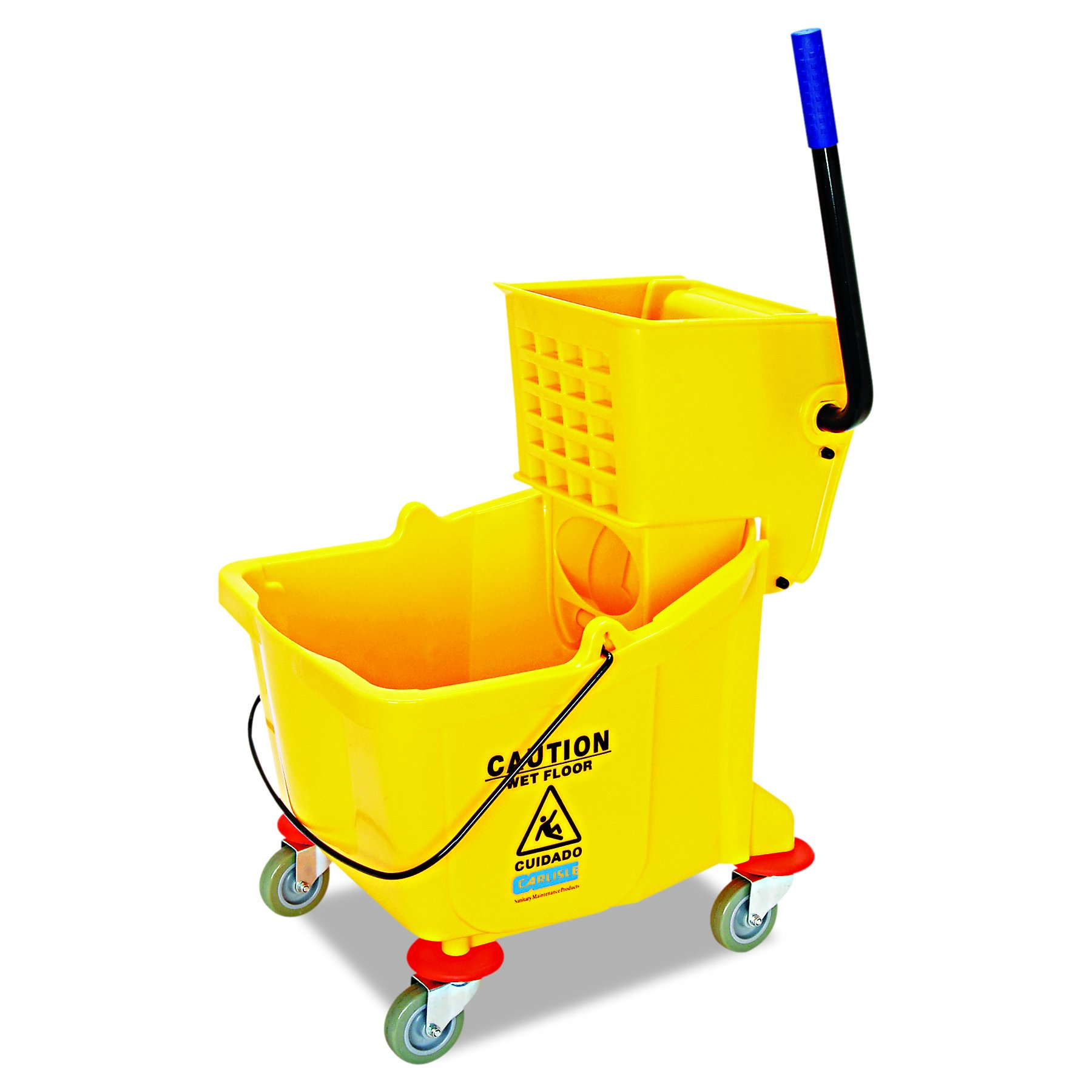 Carlisle 3690404 Commercial Mop Bucket With Side Press Wringer, 35 Quart Capacity, Yellow