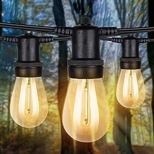 qimedo Outdoor LED String Lights 48ft Shatterproof Plastic 1W Energy Saving Vintage Edison Lights, 15 Sturdy and Waterproof Hanging Sockets, ETL Listed, Commercial Grade, for Garden Backyard Pool