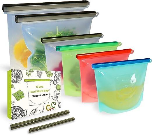 uso en lavavajillas 8 PCS blanco Bolsas de almacenamiento de alimentos reutilizables bolsa de silicona grande a prueba de fugas y bolsas a prueba de congelador de 1 litro microondas y congelador