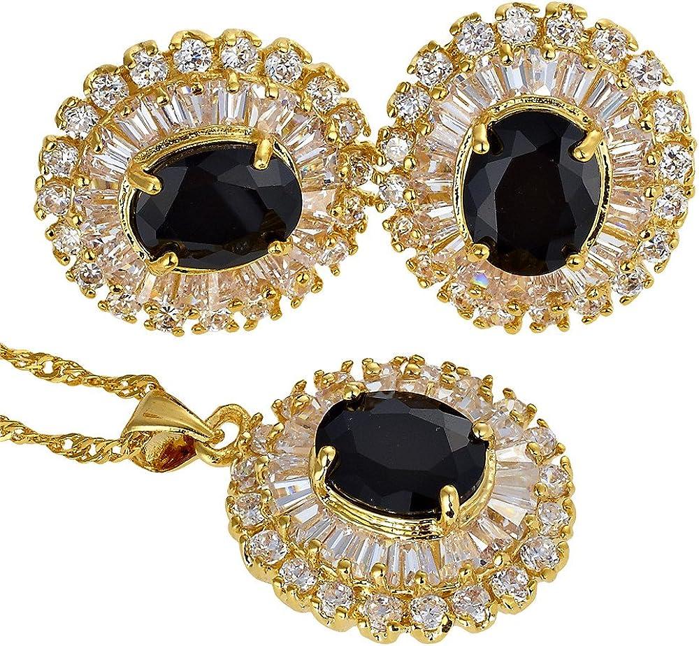 Collar Corte Oval Colgante Pendientes de piedras preciosas del GP 18K Conjunto de joyas