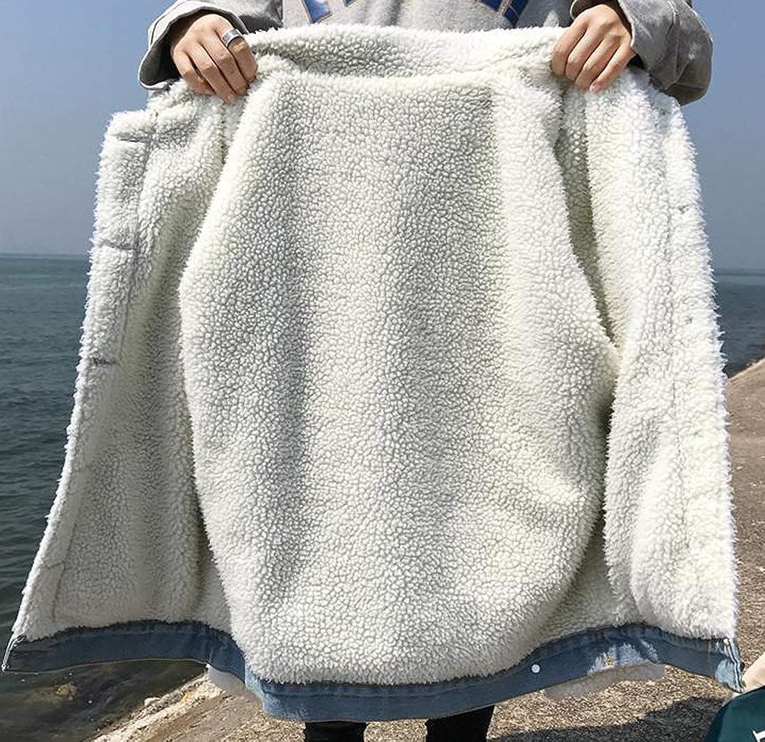 Saint Toi Womens Loose Boyfriend Denim Jacket Lamb Lined Jean Coat