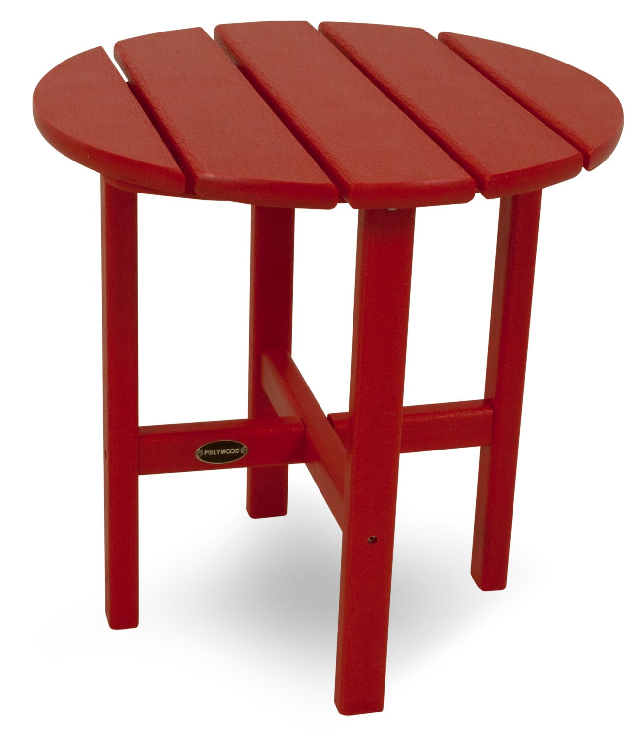 POLYWOOD RST18SR Round 18'' Side Table, Sunset Red