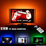 TV LED Bias Lighting USB Backlight For 65 To 75 Inch TV Lighting Behind Wall Mount Stand Home Theater Decor. 20 Colors, Remote Control, To Enhance Viewing and Alleviate Eyestrain