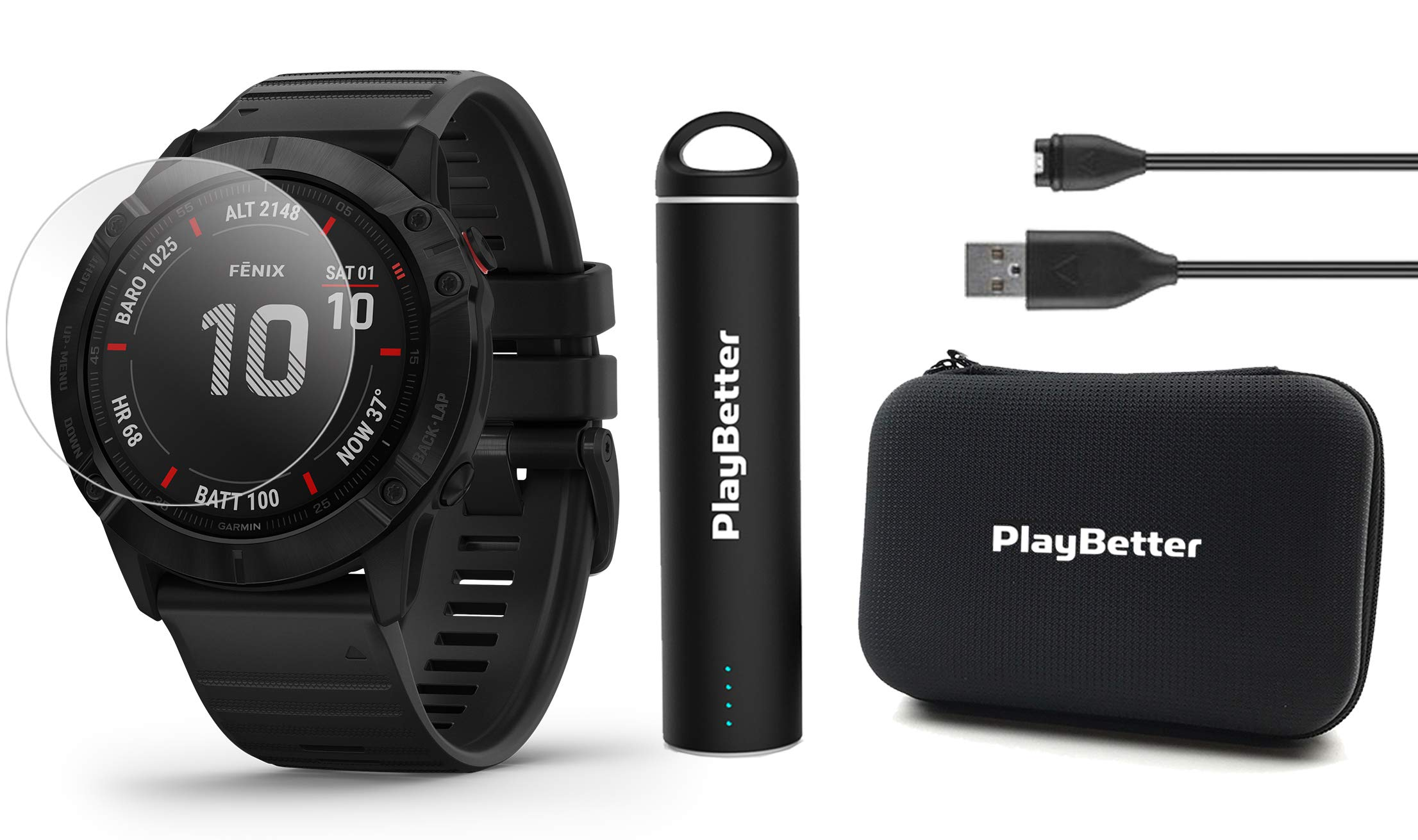 Garmin Fenix 6 Pro (Black with Black Band) Power Bundle with HD Screen Protectors, PlayBetter Portable Charger & Protective Hard Case | 2019 | PulseOx, ClimbPro, Maps, PacePro, Spotify, Music by PlayBetter