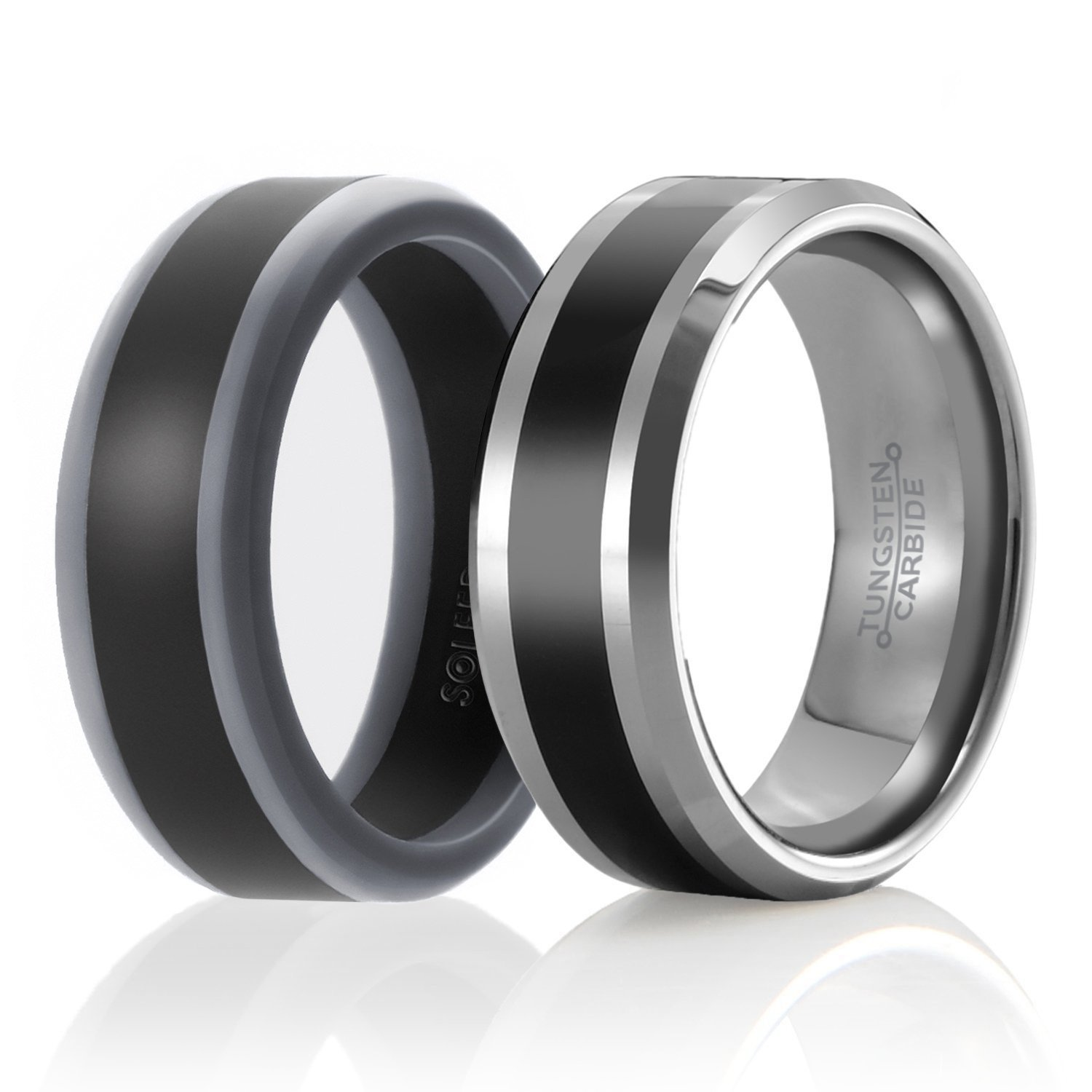 SOLEED Twins - Set of 2-1 Tungsten Wedding Band and 1 Silicone Rubber Wedding Ring for Men, Size 15