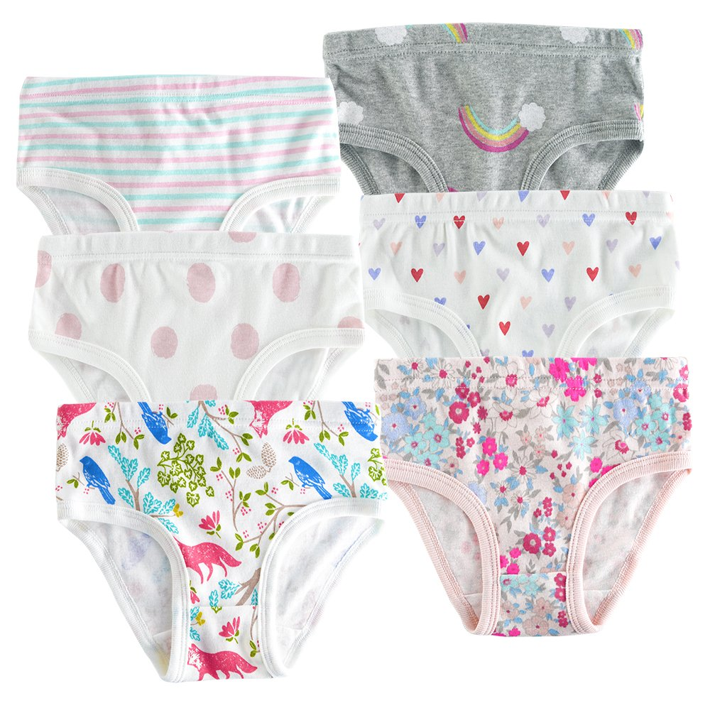 slaixiu Cotton Little Girls Underwear Toddler Briefs Kids Panties 6-Pack