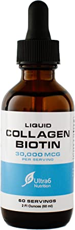 Liquid Collagen Biotin Drops. Liquid Collagen for Women and Men. Liquid Biotin for Hair Growth, Healthy Nails and Skin with 30,000 mcg + Vitamin C - Made in The USA.