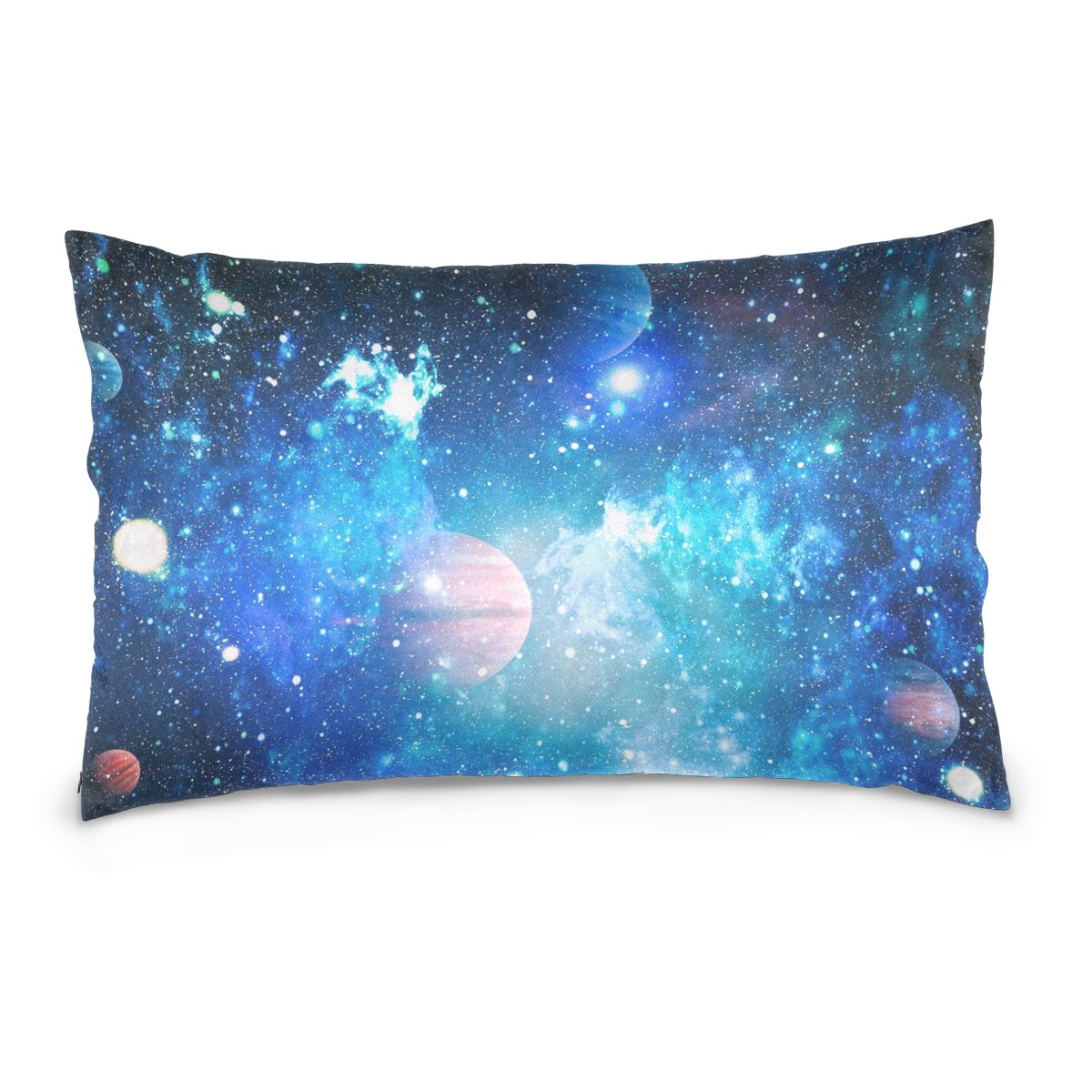 ALAZA Blue Solar System Planet Cotton Lint Pillow Case,Double-sided Printing Home Decor Pillowcase Size 16''x24'',for Bedroom Women Girl Boy