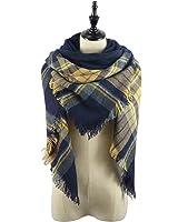 Women's Soft Warm Plaid Tartan Tassels Scarf Fall Winter Large Checked Blanket Scarves Wrap Shawl Pashminas