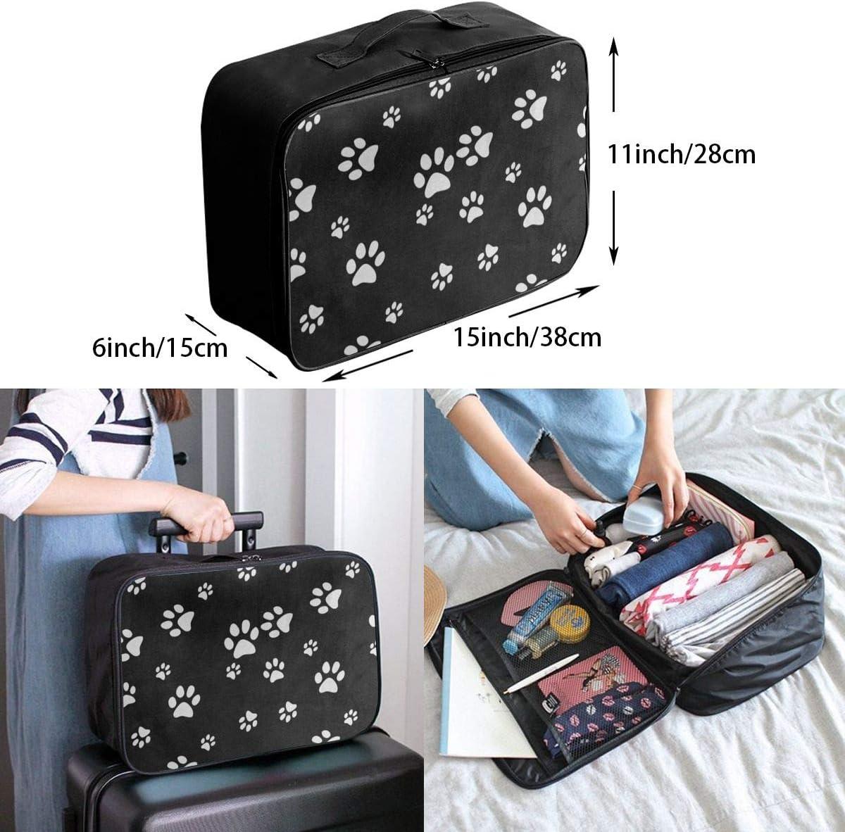 Travel Bags White Black Paw Print Portable Tote Hot Trolley Handle Luggage Bag