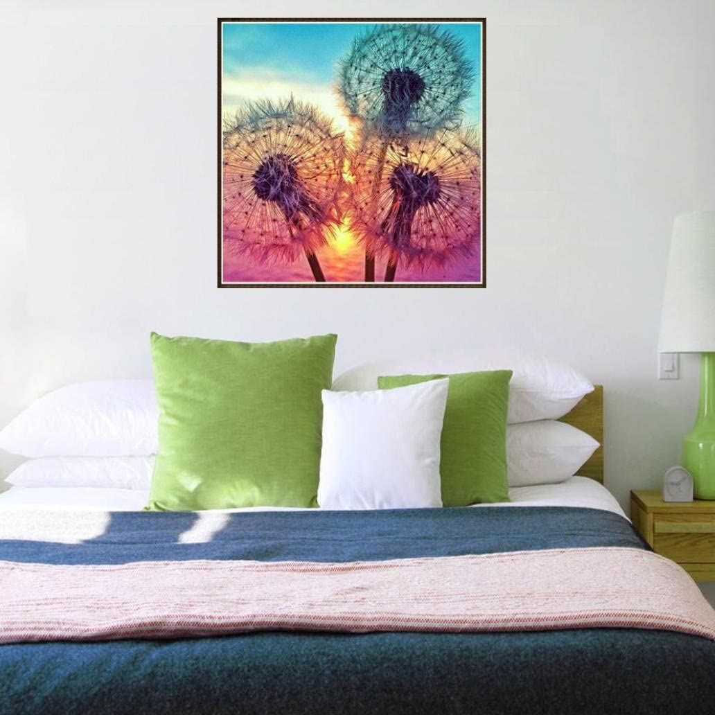 Dandelion Paint-by-Diamond Kits Arts Craft Rhinestone Cross Stitch for Home Wall 5D DIY Diamond Painting by Number Kits F