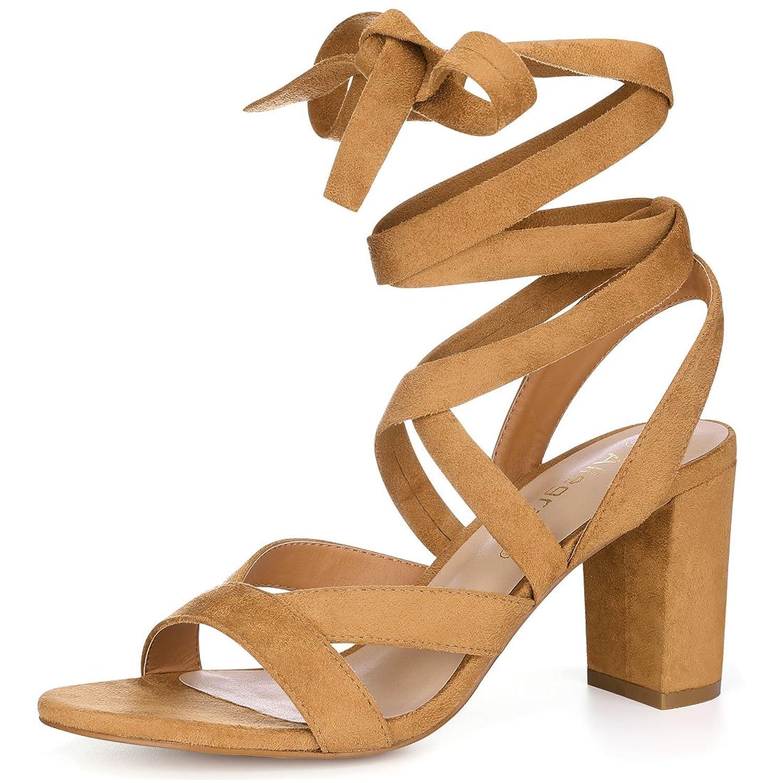 Allegra K Women's Crisscross Chunky Heel Lace Ups