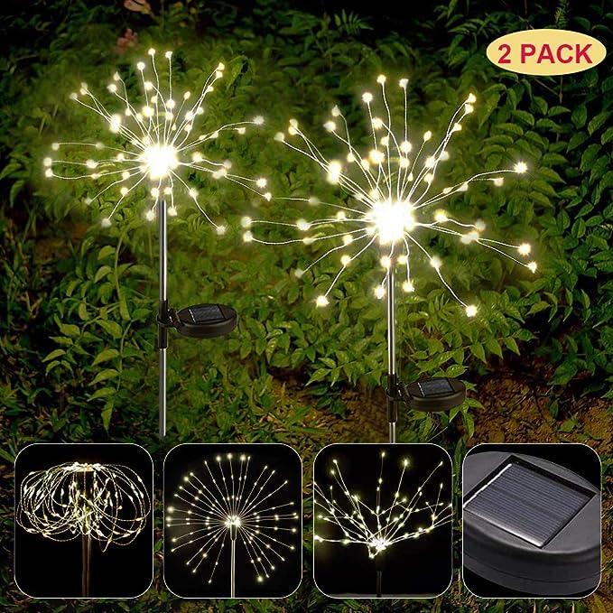 APERIL Luces Fuegos Artificiales 2 Pack Luz Solar Exterior Blanco Cálido Cadena de Luces IP65 Impermeables 2 Modos 150 LEDs Jardin Exterior Decorativas para Navidad Fiesta Patio Césped Pasillo: Amazon.es: Iluminación