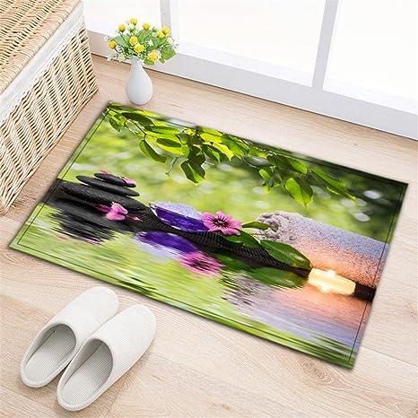Decoración de spa Alfombras de baño,alfombras de baño absorbentes antideslizantes Alfombra de ducha suave