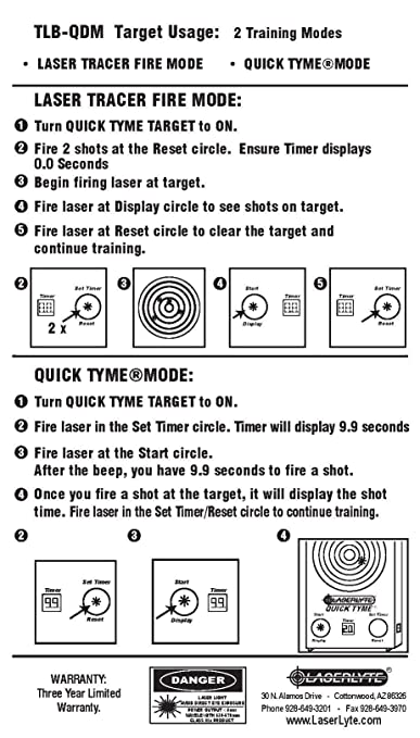 LASERLYTE laser trainer UNIVERSAL and RUMBLE TYME target DRY FIRE