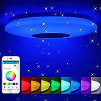 Lámpara de techo led regulable,altavoz RGB con Bluetooth,60W música para dormitorio,…