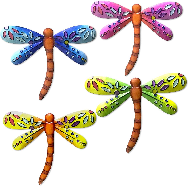 FANWNKI Metal Multicolor Dragonfly Wall Art Decor for Garden Fence Yard Garden Bedroom,Indoor or Outdoor