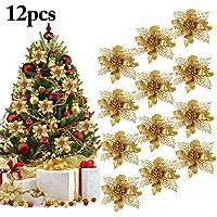 Ornamento dell'albero di Natale, OUTGEEK 24Pcs 5.91 '' Glitter Fiori artificiali Fiori di Natale per le decorazioni natalizie del partito di nozze