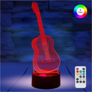 [ 7 Colors/3 Working Modes/Timer Function ] Remote and Touch Control Guitar Night Lights, Dimmable LED Bedside Lamp for Children and Kid's Room