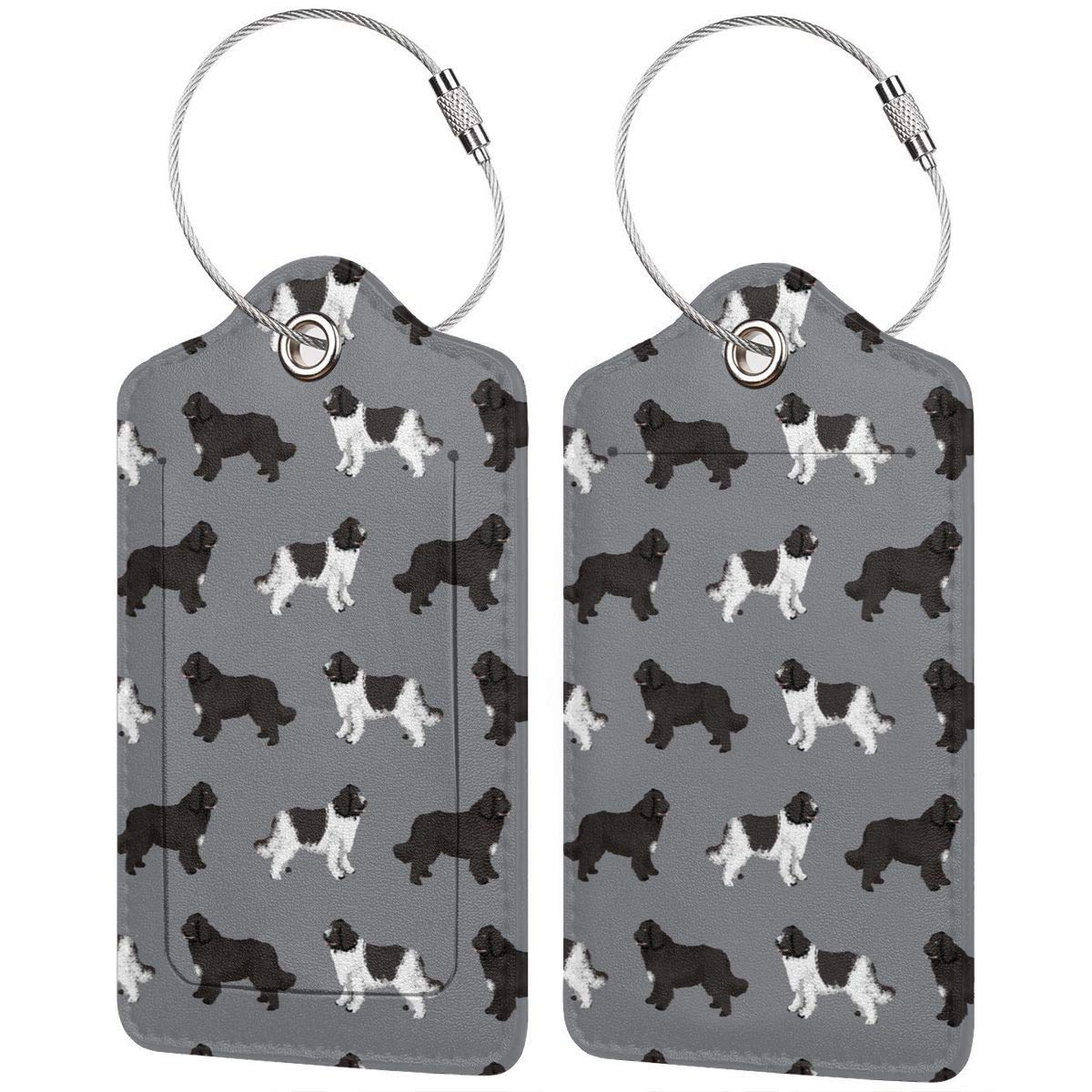 Leather Luggage Tags Full Privacy Cover and Stainless Steel Loop 1 2 4 Pcs Set Key Tags for Backpacks Travel Bags Gift Newfie Dog 2.7 x 4.6 Blank Tag