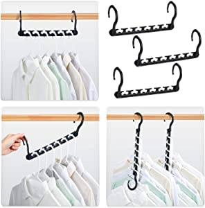HOUSE DAY Sturdy Plastic Space Saving Hangers Cascading Hanger Organizer Pack of 12 Closet Space Saver Multifunctional Hangers for Heavy Clothes (Black)