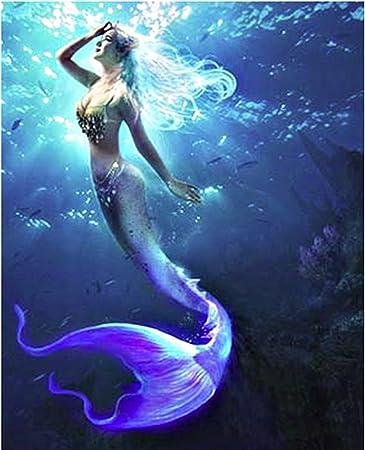 5D Diamond Embroidery Mermaid Painting Cross Stitch Craft Home Office Decor DIY