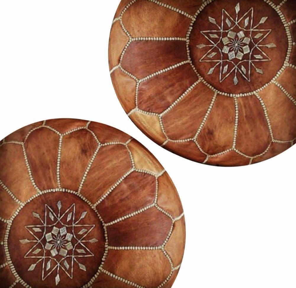 Set of 2 Amazing Moroccan pouf Light Tan color,Best offer,Ottomans Poffes,Footstool poufs,100% handmade leather poof,Ready to magic your living room! Moroccan House 2TAN&NAT01