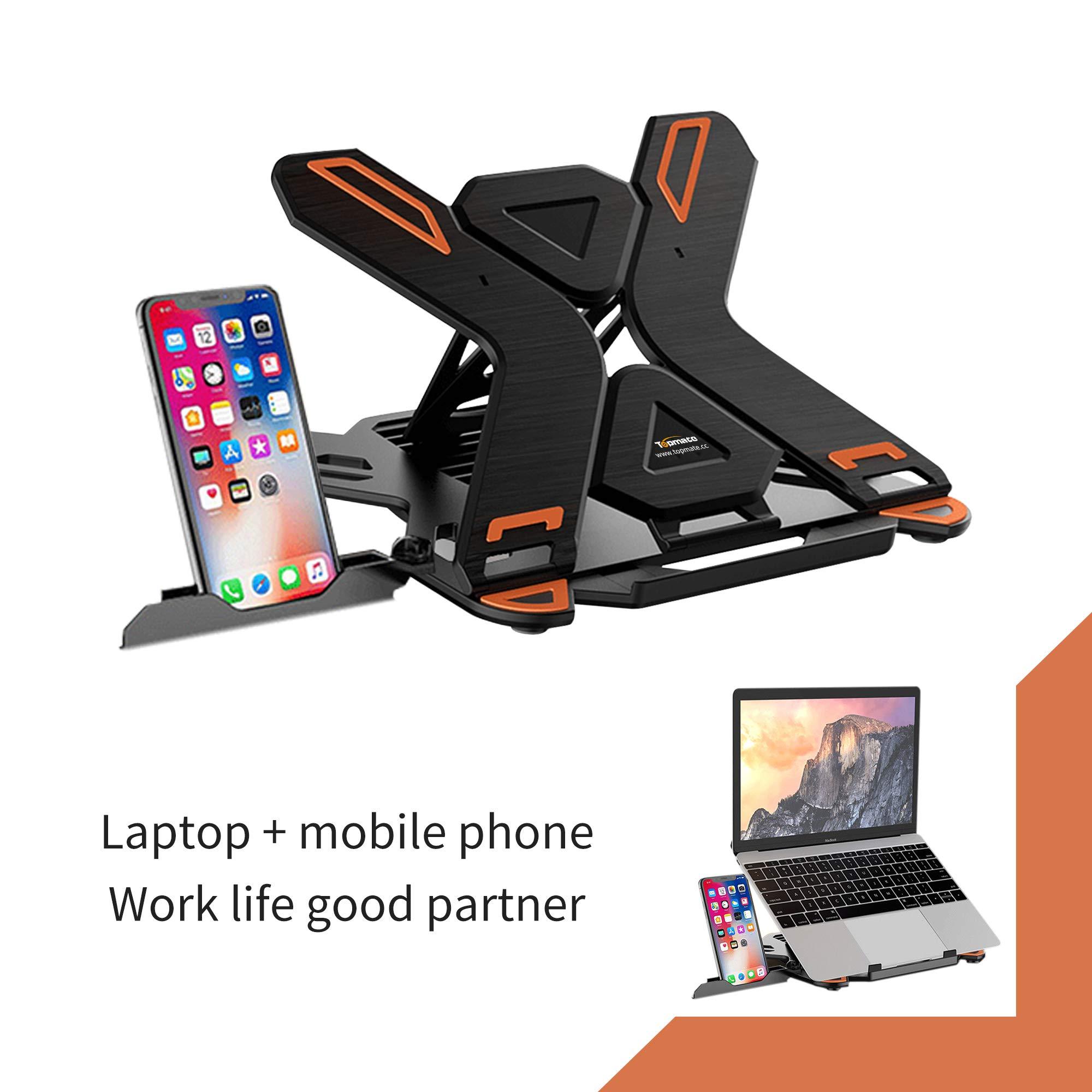 Laptop StandTopMate Portable Laptop Riser 360° SwivelBase Adjustable Eye-Level Ergonomic DesignFoldable Desktop Notebook Holder Mount with Phone Standfor Laptop Within 17\