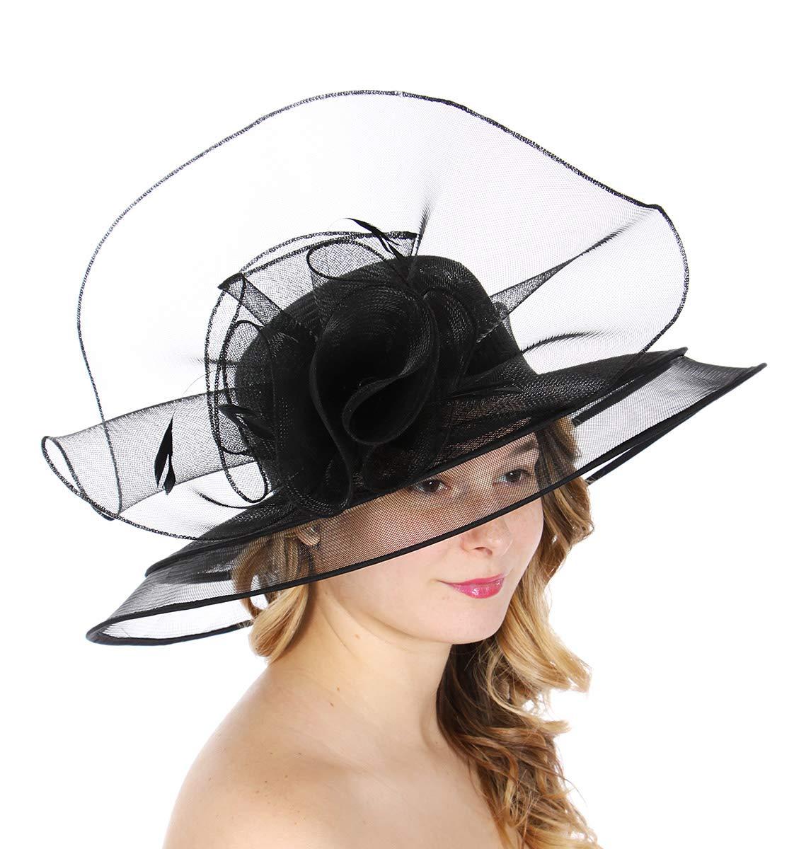 Dress Derby hat Women, for Church Party Kentucky Bridal Wedding Cocktail, Wide Brim Flower Cloche Bucket, Black 13