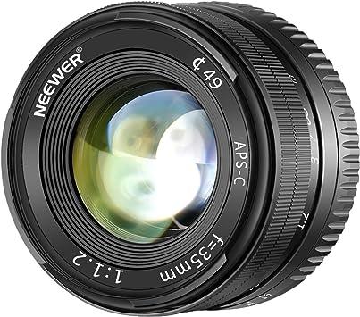 Neewer 35mm f/1.2 Lente Gran Angular de Aluminio Apertura Manual Focus Prime Lente Fija APS-C para Olypums Panasonic Micro 4/3 Montura Cámaras Sin Espejo con Sensor APS-C Live Mos: Amazon.es: Electrónica