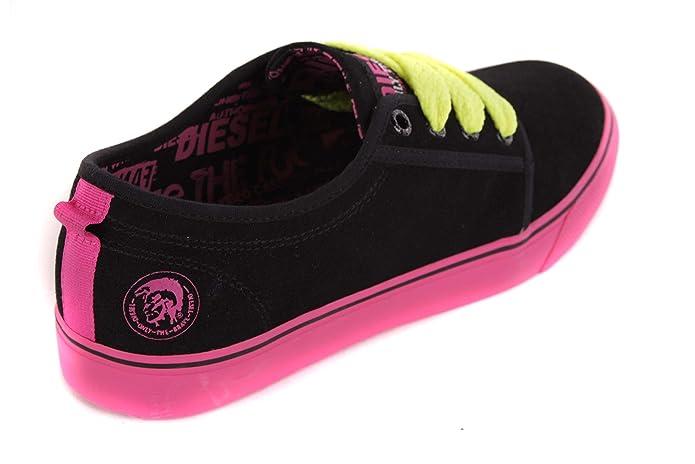 Diesel Zapatillas para mujer de cordones de zapatos negro #39, color negro, talla 38