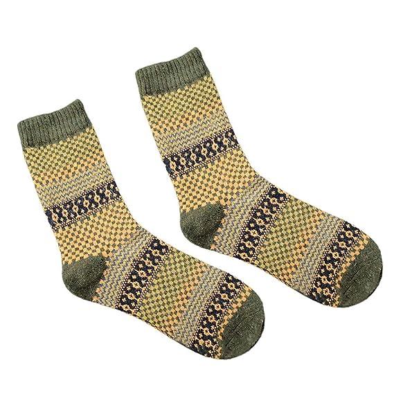 Republe Invierno bloque cuadrado Crew Longitud de lana calcetines de los hombres respirables de la vendimia del estilo étnico para absorción de humedad: ...