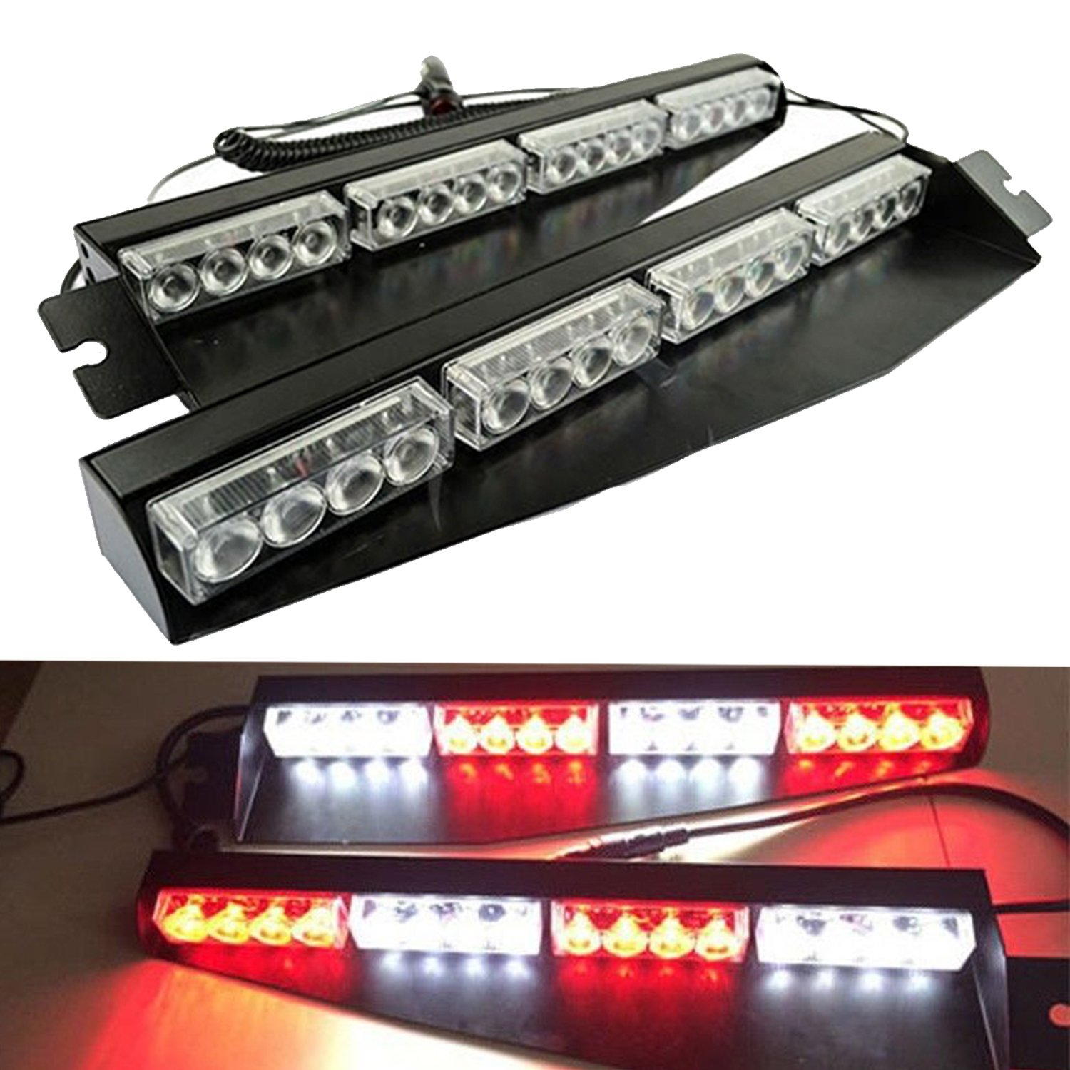 32LED 32W LED Lightbar Visor Light Windshield Emergency Hazard Warning Strobe Beacon Split Mount Deck Dash Lamp (Red&White)