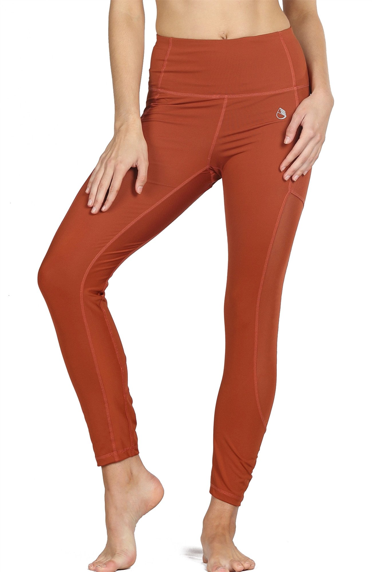 icyZone Tummy Control Slimming Shaping High Waist Yoga Tights Leggings with Mesh (L, Persimmon)
