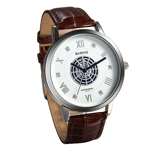 JewelryWe Reloj para Hombre Caballero Correa de Cuero Marrón f28bb3aca2dc