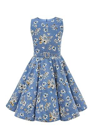 BlackButterfly Kids Audrey Vintage Eden 50s Girls Dress (Denim, ...