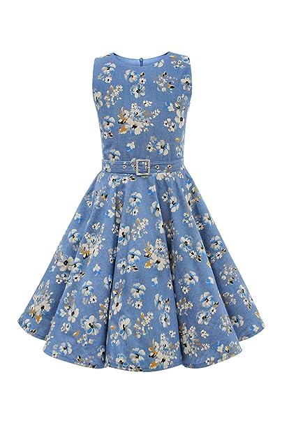 BlackButterfly Niñas Audrey Vestido Vintage Años 50 Eden (Denim Azul, 11-