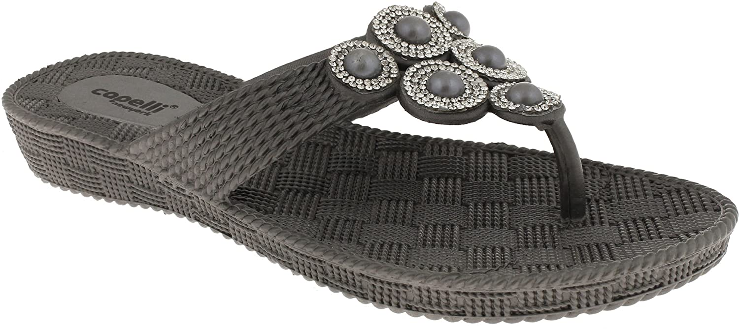 8962a3cfb Capelli New York Ladies Woven Textured Flip Flop with Rhinestone and Pearl  Trim best