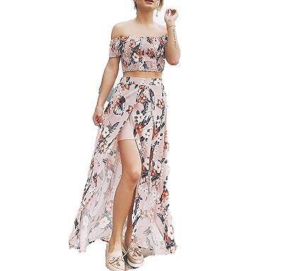 Off Shoulder Short Sleeve Summer Dress Women Boho 2 Piece Dress 2018 Vestidos,Khaki,