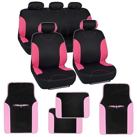 Black Pink Car Seat Covers W Split Bench Light Two Tone Carpet