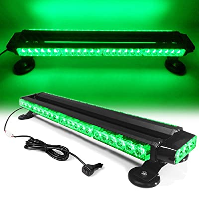 "26"" 54 LED 7 Flash Mode Traffic Advisor Double Side Emergency Warning Security Vehicle Roof Top Strobe Light Bar with Magnetic Base for Undercover or Tow Truck Construction (Green): Automotive"