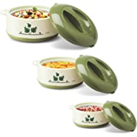 Milton Orchid 3 Piece Junior Insulated Casserole Set, Green