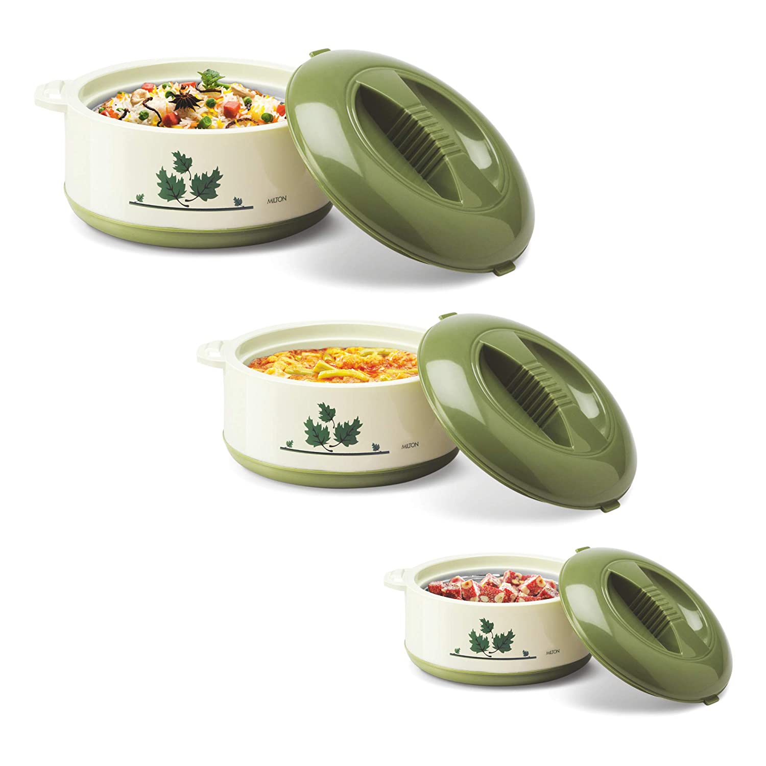 Milton Orchid Jr. Inner Steel Casserole Gift Set of 3, Green Serving Casseroles   Tureens