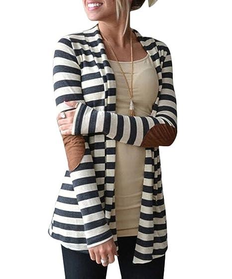 Minetom Mujer Otoño Cárdigan Rayas De Patrón Cover Up Casual Tapas Kimono Ropas Blusa Rebeca: Amazon.es: Ropa y accesorios