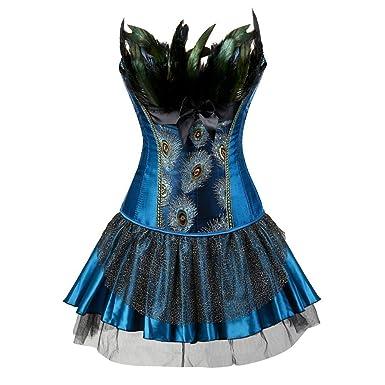 9ca8cc3c462 Womens Black Peacock Feather Trim Corset and Skirt Overbust Waist Cincher  Bustier S