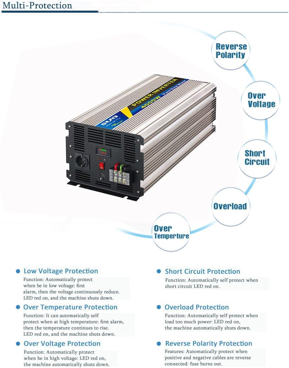 Festnight Inverter Onda sinusoidale modificata frequenza 4000 W Potenza di Picco Watt Inverter di Potenza Convertitore CC 12V a CA 110V//220V per Auto Inverter USB Doppia