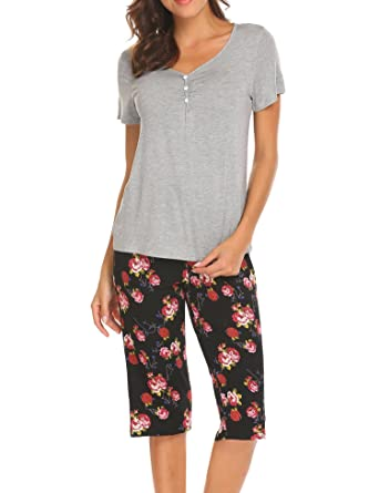 Image Unavailable. Image not available for. Color  Ekouaer Women s 2 Piece  Pants and Tee Lightweight Cotton Pajama Set ... 90bb0043d
